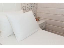 Комплект постельного белья, белый сатин-страйп 1х1